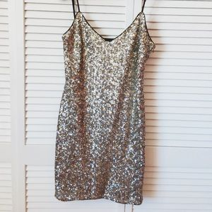 Zara Sequins Silver Black Gold Slip Dress